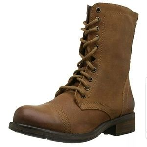 Steve Madden Tropa-2 Leather Combat Boots Lace Up